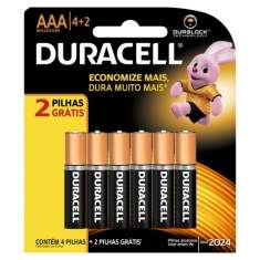 Pilha Duracell AAA Palito Leve 6 Pague 4